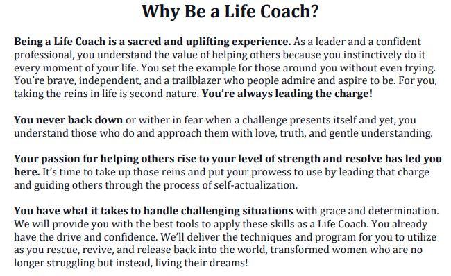 Life Coaching sales copy